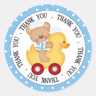 Seemann-Teddybär und gelbe Ente danken Ihnen Runder Aufkleber