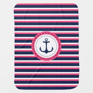 Seemarine-Blau-Pink-Streifen-Anker-Entwurf Puckdecke