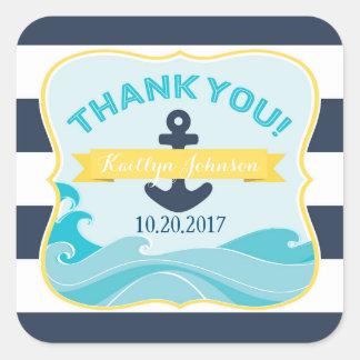 Seemarine-Streifen-Anker-Ozean-Welle danken Ihnen Quadratischer Aufkleber