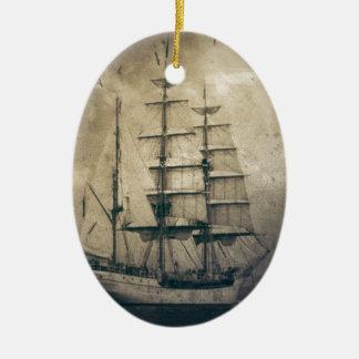 Seeozean-SeeVintages Segelnsegelboot Keramik Ornament