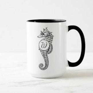 Seepferd-Skizze-Monogramm-Tasse Tasse
