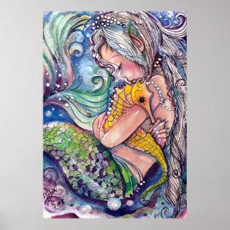 Seepferd umarmt Plakat