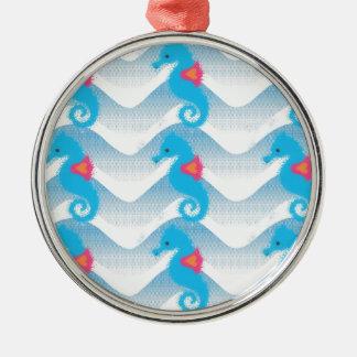 Seepferde und blaues Wellen-Muster Rundes Silberfarbenes Ornament