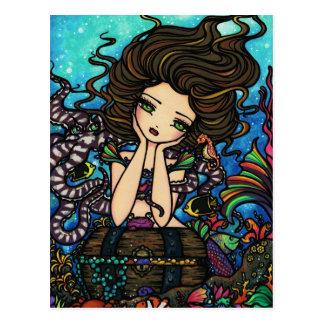 SeeSchatztruhe-Meerjungfrau-feenhaftes Postkarte