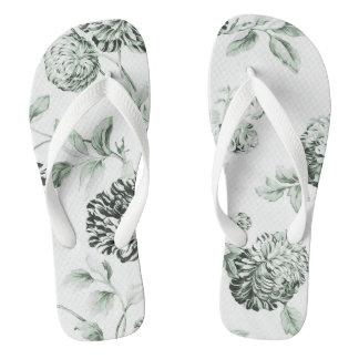 Seeschaum-Grün Vintages botanisches BlumenToile Flip Flops