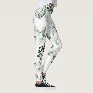 Seeschaum-Grün Vintages botanisches BlumenToile Leggings