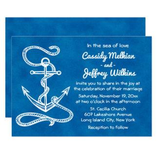 Seeschiffs-Anker-blaue Aquarell-Hochzeit Karte