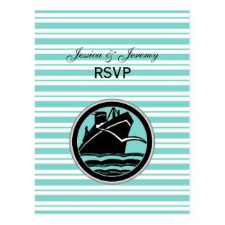 Seeschiffs-lt Blue White Stripe RSVP 1 Postkarte