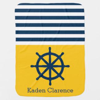 Seeschiffs-Rad mit Gelb und Marine-Streifen Babydecke