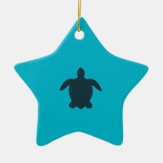 Seeschildkröte-Silhouette mit Schatten Keramik Stern-Ornament