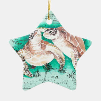 Seeschildkröten aquamarin keramik ornament