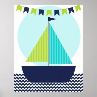 Seesegelboot-Kinderzimmer-Plakat Poster