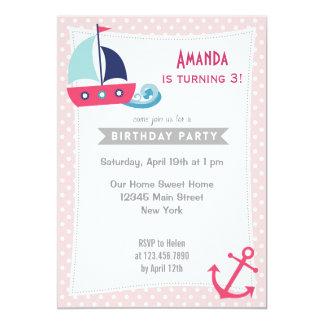 SeeSegelboot-Mädchen-Geburtstags-Einladungs-Rosa 12,7 X 17,8 Cm Einladungskarte