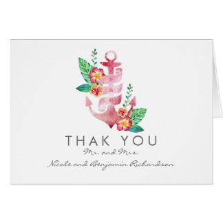 Seestrand - Blumenanker-Hochzeit danken Ihnen Karte