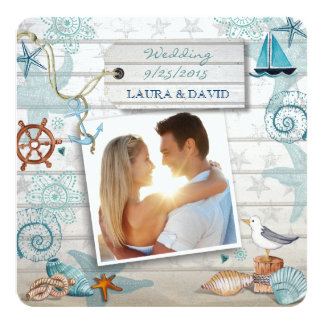 Seestrand-Hochzeits-Einladungs-Foto Karte