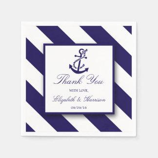 Seestreifen u. Marine-Blau-Anker-Hochzeit Serviette