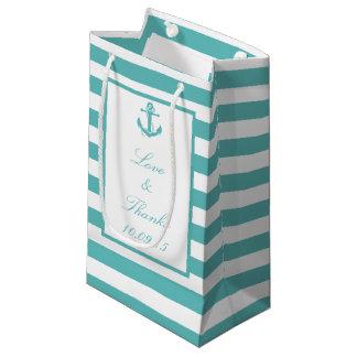 SeeTürkis-Streifen-Anker-Hochzeits-Geschenk-Tasche Kleine Geschenktüte