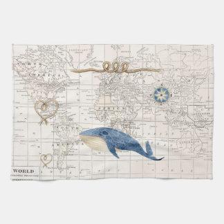 Seewal und Weltkarteteetuch Küchentuch
