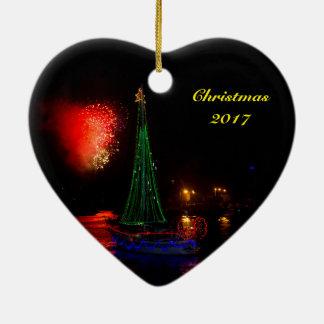 Segelboot 2017 und keramik Herz-Ornament