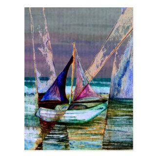 Segelboot-abstraktes Türkis-Meer Postkarte