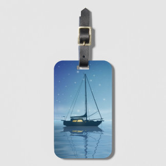 Segelboot am NachtGepäckanhänger Kofferanhänger