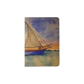 Segelboot am Sonnenuntergang auf Pass-Halter Passhülle