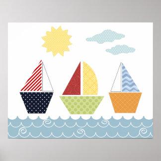 Segelbootsplakat für Kinder Poster