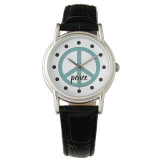 Sehr Aqua-Friedenssymbol personalisiert Uhr