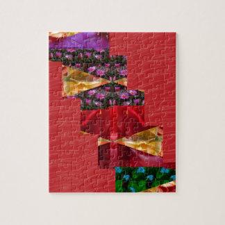 SEIDIGE rote Grafiken KUNST Gewebe Blumen-n - Jigsaw Puzzle