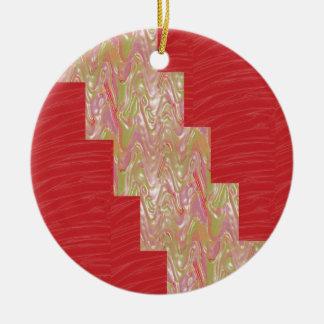 SEIDIGER eleganter roter Gewebe-Druck der Wellen-n Rundes Keramik Ornament