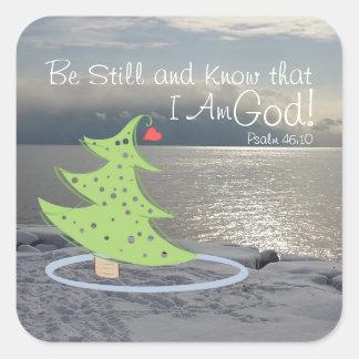 Seien Sie noch und kennen Sie Gott-Bibel-Vers, Quadratischer Aufkleber