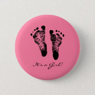 Seine Rosa-und Schwarz-niedliche Baby-Abdrücke ein Runder Button 5,1 Cm