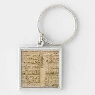 Seiten von der Kerbe der 'Kunst des Fugue Silberfarbener Quadratischer Schlüsselanhänger