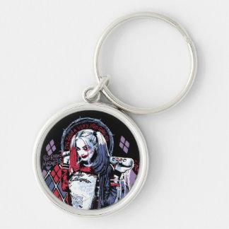 Selbstmord-Gruppe | Harley Quinn schwärzte Silberfarbener Runder Schlüsselanhänger