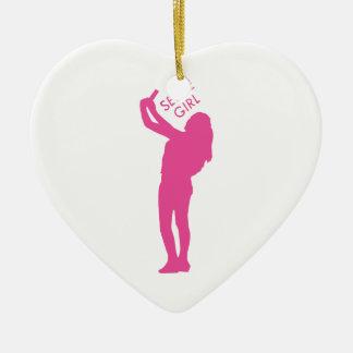 Selfie Mädchen-Grafik Keramik Herz-Ornament