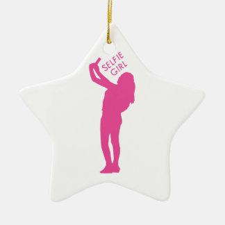 Selfie Mädchen-Grafik Keramik Stern-Ornament