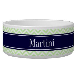 Sellerie grünes Marine-Blau-Namen-Monogramm Hundenäpfe