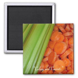 Sellerie und Karotten-Magnet Quadratischer Magnet