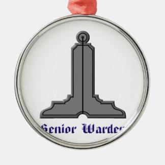 seniorwarden rundes silberfarbenes ornament