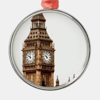 Sepia-Big Ben-Turm Silbernes Ornament