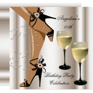 Sepia-schwarzes Schuh-Wein-Glas-Geburtstags-Party Karte