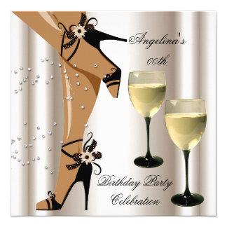 Sepia-schwarzes Schuh-Wein-Glas-Geburtstags-Party Quadratische 13,3 Cm Einladungskarte