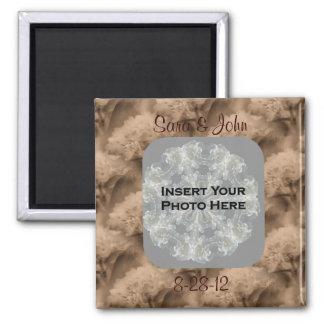 Sepiahydrangea-BlumenFoto-Hochzeits-Magnet Quadratischer Magnet