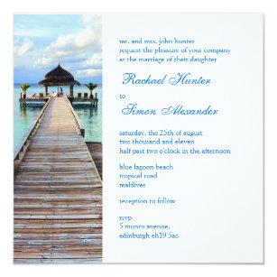 Serenade Anlegestellen Malediven Strand Hochzeit Einladung