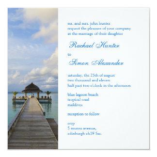 Serenade-Anlegestellen-Malediven-Strand-Hochzeit Quadratische 13,3 Cm Einladungskarte