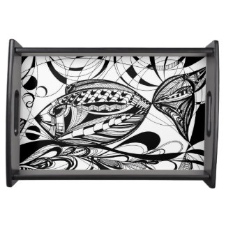 Serving Tray | Black | Fish Print Tabletts