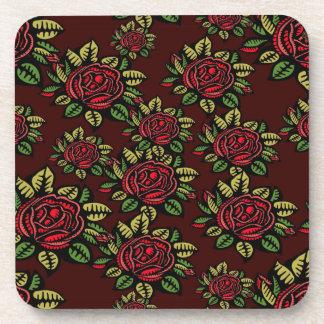 Set von 6 Retro Roten Rosen der Untersetzer