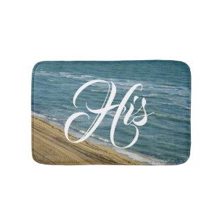 Setzen Sie Ozean-Sand-blaues tropisches seins/ihrs Badematte