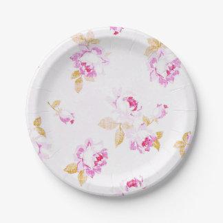 Shabby Chic blaß - rosa Rosen-Papierplatte Pappteller