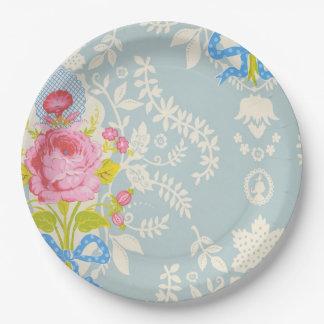 Shabby Chic-blaue Blumenplatte Pappteller